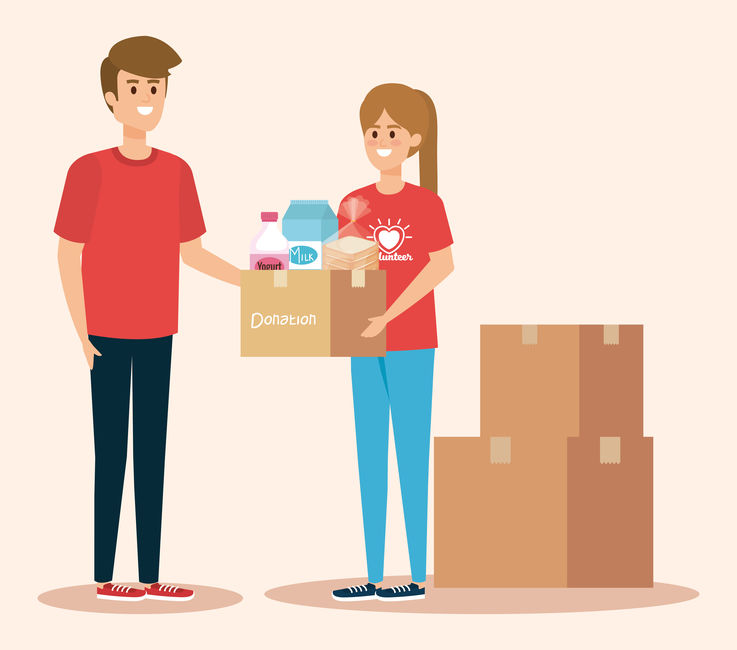 boy and girl volunteers with boxes donation vector illustration